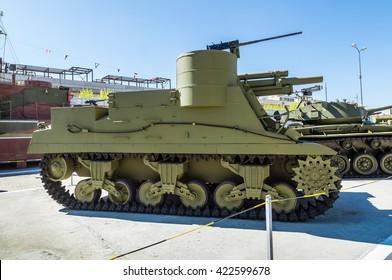 battle tank during the second world war, the exhibit of the military historical Museum, Russia, Ekaterinburg, Verkhnyaya Pyshma, 09.05.2016 year