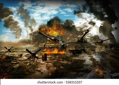Battle Tank in the war zone