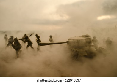 Battle Tanks moving in the desert in fog. War scene decoration. Battlefield.