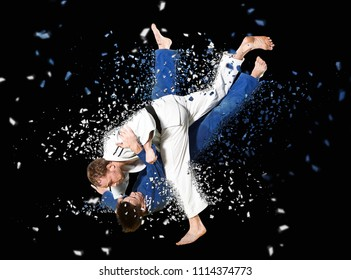 Battle of two fighters judo sports judo competitions