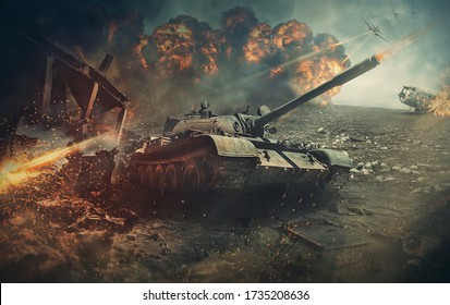 Battlefield actions, different military warships gunfire. Fighter jets attacks a tank as a defense mission. Explosion and destructions caused by war. Army battle, artillery weapons force conflict.