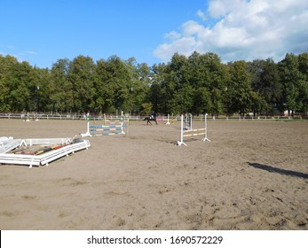 battlefield for show jumping and rider on a background of green