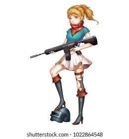 Battleground Girl with Anime and Cartoon Style. She is a captain of a battleship. Video Game's Digital CG Artwork, Concept Illustration, Realistic Cartoon Style Character Design