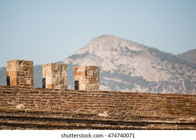 Battlement of the ancient fortress of Sudak in Crimea