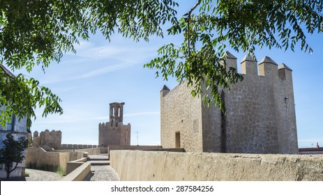 Battlements, pathways and towers of Badajoz muslim wall, Spain