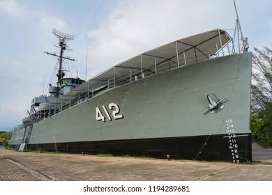Battleship decommissioned on the coast