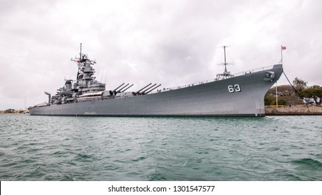 Battleship USS Missouri in Pearl Harbor Hawaii