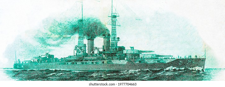 the battleship USS New York, see action in both World War I and World War II. Portrait from United States of America 2 Dollrs 1918 Banknotes. $2 Federal Reserve Bank Note Battleship New Yor.