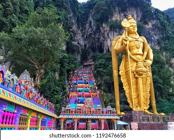 Batu Caves, Kuala Lumpur, 11 September , 2018 : New look with colorful stair at Murugan Temple Batu Caves become a new attraction for tourism in Malaysia