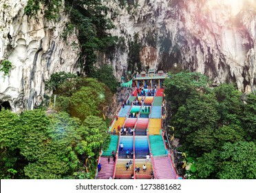 The Batu Caves A limestone located just north of Kuala Lumpur with rainbow stairs
