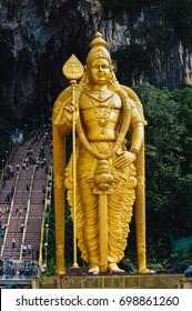 The Batu Caves Lord Murugan Statue and entrance near Kuala Lumpur Malaysia