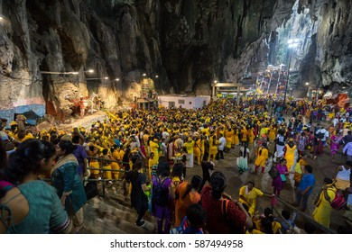 BATU CAVES, MALAYSIA - 9TH FEBRUARY 2017; Hindu devotees performing a pray session during Thaipusam festival in Batu Caves temple, celebrating Lord Murugan victory over the demon Soorapadman.