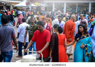 BATU CAVES, SELANGOR, MALAYSIA - 6 November 2018 Hindu devotees celebrate Deepavali with relatives. Religion concept. Culture and traditions. Asia travel– Stock Editorial Photography