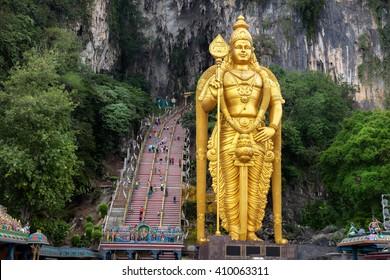 Batu Caves statue and entrance near Kuala Lumpur, Malaysia