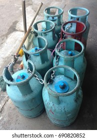 BATU PAHAT, JOHOR - 3 AUGUST 2017 : An image of cooking gas cylinders