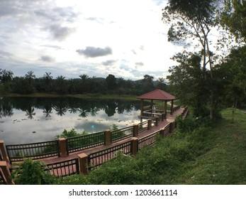 Batu Pahat, Johor Malaysia - October 12 2018 : Spending evening  time in Johor Botanical Park ( Taman Botani Johor )