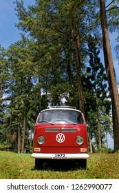 Batu Raden, Central Java / Indonesia - October 13, 2012 : Volkswagen Kombi T2  Red color, year 1972.