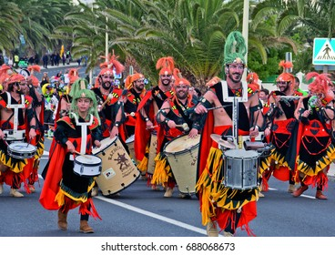 Batucada group at Costa Teguise Carnival March 2016, Lanzarote, Canary Islands