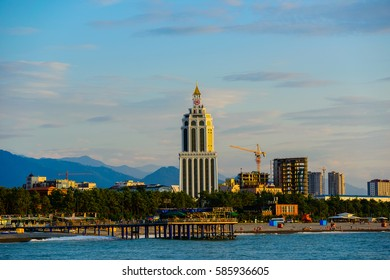 BATUMI, ADJARA, GEORGIA - JULY 1: The Sheraton Batumi hotel on July 1, 2016 in Batumi. This 5-star branded hotel is designed in the style of the Great Lighthouse of Alexandria, Egypt.