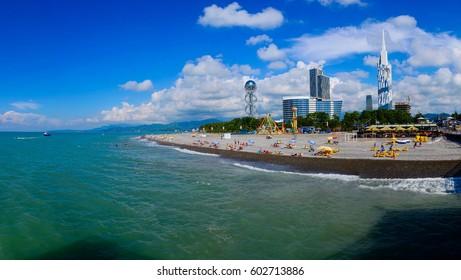 BATUMI, ADJARA, GEORGIA - JULY 6: Alphabetic Tower and Technological University Tower on July 6, 2016 in Batumi. Amazing view from the Black sea.