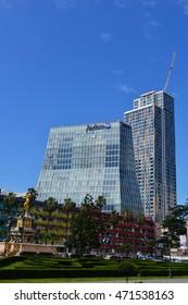 BATUMI, ADJARA, GEORGIA -JUNE 29: Radisson Blu Hotel, Batumi on June 29, 2016 in Batumi. This 5-star luxury 168-room hotel is designed by Italian architect Michele De Lucchi.