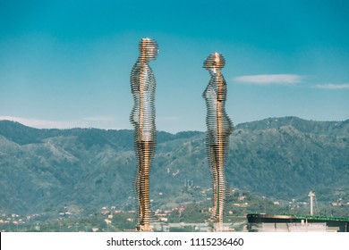 Batumi, Adjara, Georgia - May 25, 2016: A moving metal sculpture created by Georgian sculptor Tamara Kvesitadze in 2007, titled Man and Woman or Ali and Nino.