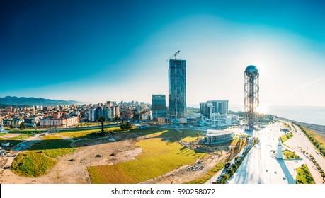 Batumi, Adjara, Georgia - May 25, 2016: Aerial View Of Batumi Urban Cityscape At Sunset. Panorama Of Famous Modern Buildings Radisson Blu Hotel, Residential House Porta Batumi Tower And Alphabet Tower