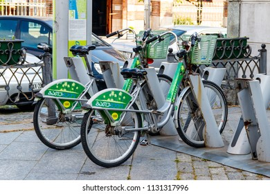 """Batumi, Adjara, Georgia - May 3, 2018: """"BatumVelo"""" bicycles for rent in center of Batumi. Users can hire bicycles from street terminals and return them at any other convenient locations"""