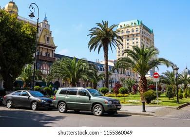 Batumi, Adjara, Georgia - May 3, 2018: Europe Square in Batumi. Cityscape with modern architecture in Georgia