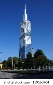 BATUMI, ADJARA, GEORGIA - SEPTEMBER 14: Batumi Technological University Tower on September 14, 2013 in Batumi. It is the first ever skyscraper in the world with an integrated Ferris wheel.
