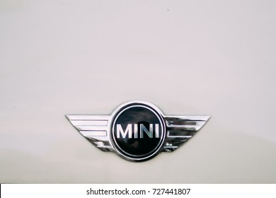 Batumi, Adjara, Georgia - September 7, 2017: Close View Of Logo Logotype Sign Of Mini Cooper.
