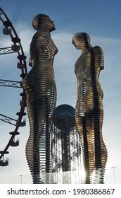 Batumi, Adjara, Georgia-05-02-2021: Ali and Nino dynamic sculpture by sculptor Tamara Kvesitadze, based on Ali and Nino novel by Kurban Said about love of muslim Ali and Georgian christian girl Nino