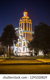 Batumi, Adjaria / Georgia - 01.21.2019: Sheraton building in Batumi at night, Batumi night architecture.