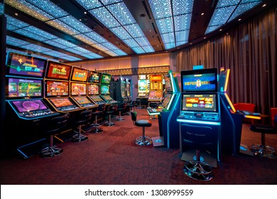 Batumi, Adjaria / Georgia - 01.25.2019: New Slot Machines in Casino. Modern slots in Casino Hall.