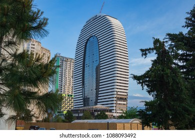 Batumi, Adjaria, Georgia - 09 May 2018: Building of 5 star modern Marriott hotel situated near the Batumi Public Service Hall. Not far from Batumi new boulevard promenade walking coastline. Black sea