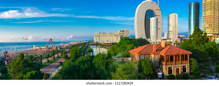 Batumi, Adjaria, Georgia - June 12 2018: Marriott Luxury Hotel in Batumi city. Public Service Hall view on pond with dancing, singing fountains near New Boulevard.