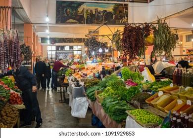 Batumi, Adjaria, Georgia - May 15 2018: Batumi Hopa food market. Local georgian bazar with spices, herbs, vegetables, beans, dried fruits. Traditional vegetarian healthy food