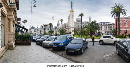 Batumi, Adjaria, Georgia - May 22 2018: Europe Square view with Medea Statue and old styled mansions with restaurants, cafes and hotel apartments in Batumi old center.
