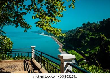 Batumi coast. Landscape view from botanical garden.
