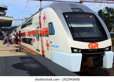 Batumi, Georgia - 08 09 2018: The Stadler at the station is a comfortable double-decker high-speed train that connects the Georgian capital Tbilisi with picturesque Batumi on the Black Sea coast.