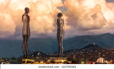 "Batumi / Georgia -  08 September, 2018: Moving sculpture ""Ali and Nino"" by Tamar Kvesitadze in Batumi. Two lovers tell the story of love in the Futurism style, modern mobile sculpture made of metal."