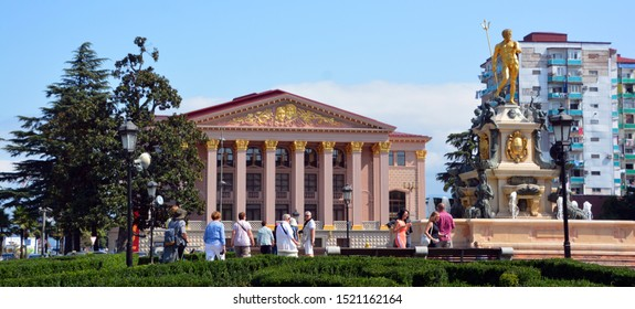 BATUMI GEORGIA 09 19 2019: The Batumi Theater in the city's historic district. Ilya Chavchavadze State Drama Theatre and Golden statue of Neptune