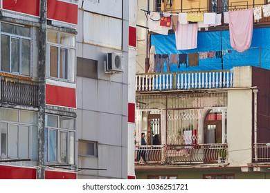 Batumi, Georgia - 10 19 2017: Clothesline at an old traditional balcony