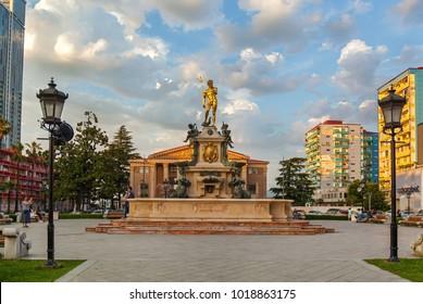 Batumi Georgia 11 July 2017: Neptune Monument near Ilya Chavchavadze State Drama Theatre in Batumi, Georgia.
