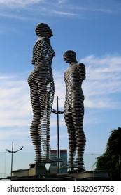 BATUMI, GEORGIA 2.10. 2019: Famous statue of Ali and Nino moving towards each other.