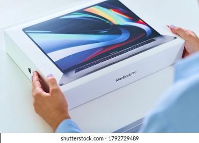 Batumi, Georgia. 27 July 2020 - Unpacking box of 16 inch MacBook Pro of 2019 release. Apple gadgets