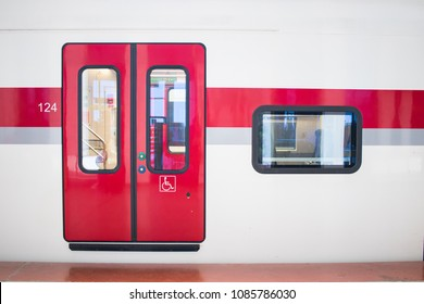 Batumi, Georgia - April 30, 2018: Stadler regional city train stops and goes from railway station Batumi to Tbilisi. Operated by Georgian Railways. Closed train doors