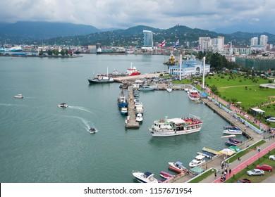Batumi, Georgia - August 06, 2018: Batumi Sea Port with boats. Moorage for boats