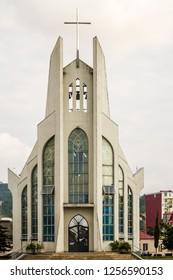 BATUMI, GEORGIA - AUGUST 13, 2013:  Modern church of holy spirit, Batumi catholic church