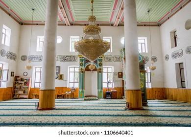 Batumi, Georgia - August 25, 2017: Interior of praying room in Batumi central mosque, Georgia
